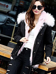 Women's Casual/Daily Simple Fur Coat,Solid Long Sleeve Black / Green Fox Fur