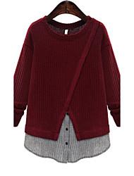Для женщин На каждый день Большие размеры Простое Длинный Пуловер Контрастных цветов,Красный Серый Круглый вырез Длинный рукавХлопок