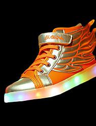 Fille Chaussures d'Athlétisme Confort Polyuréthane Hiver Athlétique Confort Lacet LED Talon Plat Blanc Orange Noir et Or Rose Plat