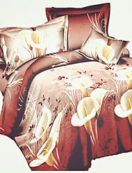 3D (Zufallsmuster) Bettbezug-Sets 4 Stück Polyester / Baumwolle 3D Reaktivdruck Polyester / Baumwolle Doppelbett4-teilig (1 Bettbezug, 1