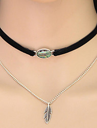 Women 's European Style Fashion Shells Choker Necklaces Jewelry Daily Leaf Double-layer