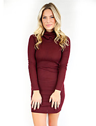 Women's Going out / Casual/Daily Sexy / Street chic Bodycon DressSolid Backless Knit Turtleneck Above Knee Long Sleeve