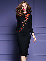 Women's Going out Simple Bodycon Dress,Embroidered Turtleneck Midi Long Sleeve Black Polyester Fall / Winter Mid Rise Micro-elastic Thick