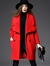 WEIWEIMEI Women's Casual/Daily Simple CoatSolid Shirt Collar Long Sleeve Fall / Winter Red Wool / Polyester