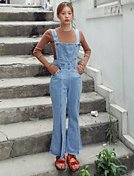 chic waist strap high-slit-piece horn jeans