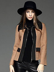 WEIWEIMEI  Women's Casual/Daily Simple JacketsColor Block Shirt Collar Long Sleeve Fall / Winter Brown Wool / Polyester