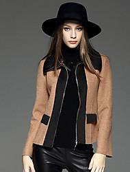 Feminino Jaqueta Casual Simples Outono / Inverno, Estampa Colorida Marrom Lã / Poliéster Colarinho de Camisa-Manga Longa