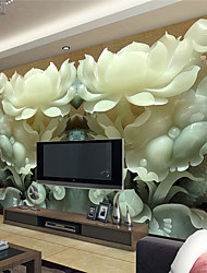 JAMMORY 3D Wallpaper For Home Contemporary Wall Covering Canvas Material Jade LotusXL XXL XXXL