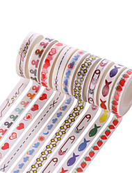 10PCS DIY Decorative Tape Masking Adhesive Tape Scrapbooking Diary Wall Decorative stickers 7M