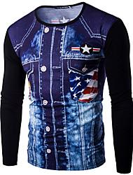 Tee-shirt Hommes,Imprimé Décontracté / Quotidien simple Printemps Automne Manches Longues Col en V Noir Gris Coton Opaque