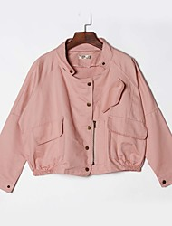Women's Casual/Daily Simple Fall Jackets,Solid Notch Lapel Long Sleeve Pink / White / Green Cotton Medium