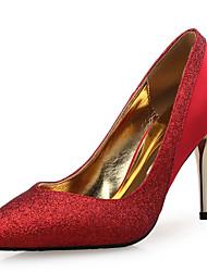 Women's Heels Novelty Silk Glitter Wedding Party & Evening Stiletto Heel Sequin Sparkling Glitter Split Joint Gold Black Sliver Red