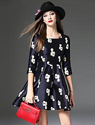 Feminino Evasê Vestido, Casual Simples Jacquard Decote Redondo Acima do Joelho Manga ¾ Azul Poliéster Outono Cintura MédiaSem