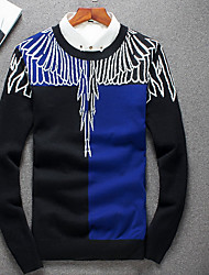 Men's Going out / Casual/Daily Simple Regular Cashmere,Print Blue / Black Round Neck Long Sleeve Polyester Fall / Winter Medium
