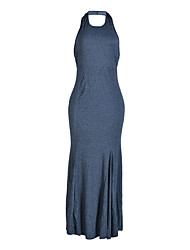 Women's Party Club Sophisticated Bodycon Dress,Solid Round Neck Maxi Sleeveless Gray Polyester Summer Fall High Rise