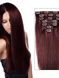 remy maagd brazilian haar clip in extensions 70 g-120 g clip in straight hair extensions 7/8 stuks multi-ply kleuren