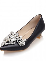 Women's Heels Spring Fall Comfort Leatherette Office & Career Dress Casual Low Heel Imitation Pearl Black Red White