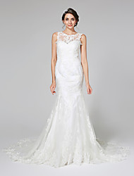 2017 Lanting Bride® Trumpet / Mermaid Wedding Dress - Elegant & Luxurious Open Back Chapel Train Jewel Lace / Tulle with Appliques