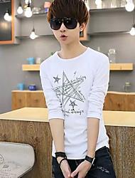 Tee-shirt Hommes,Couleur Pleine Décontracté / Quotidien simple Automne Hiver Manches Longues Col Arrondi Blanc Noir Coton Moyen