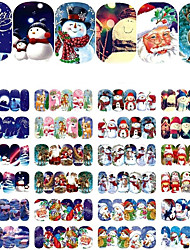 12 Sheets Christmas Water Transfer Nail Stickers Nail Art Decoration Watermark Sticker