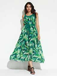 Balançoire Robe Femme Plage Bohème,Imprimé Col Arrondi Maxi Sans Manches Rose Vert Polyester Eté Taille Normale Micro-élastique
