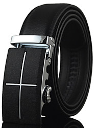 Men's Black Leather Simple Cross Alloy Automatic Buckle Waist Belt Work / Casual Leather All Season