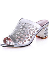 Women's Slippers & Flip-Flops Summer Comfort Cowhide Wedding / Party & Evening / Casual Chunky Heel Crystal / Slip-on Silver Walking