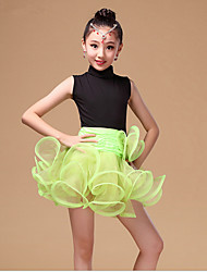 Latin Dance Dresses Children's Performance Organza Milk Fiber Cascading Ruffle Sash/Ribbon 3 Pieces Long Sleeve HighDress Waist Belt
