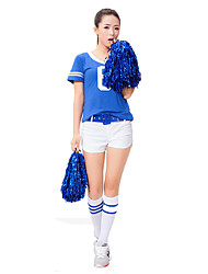 Women Sexy Football Cheerleader Uniform High School Cheering Squad Costumes Solid Top / Shorts / Belt