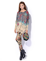 Women's Casual/Daily Boho / Street chic Long Pullover,Print White / Beige / Gray Round Neck Long Sleeve Wool / Acrylic