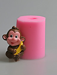 Lovely Monkey Banana Animal Fondant Cake Mold The Chinese Zodiac Salt Carving Mould Silicone Candle Mold