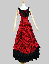 Outfits Gothic Lolita Victorian Cosplay Lolita Dress Red Solid Sleeveless Ankle-length Tuxedo For Women Charmeuse