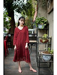 modèle tir réel robe cheongsam rétro robe brodée double ressort littéraire nouvelle robe à manches