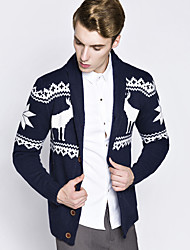 Men's European Style Christmas Deer Knitted Cardigan Print Blue / Red / Black / Gray V Neck Long Sleeve Cotton / Polyester Fall / Winter Medium