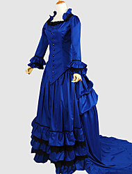 Outfits Gothic Lolita Vintage Inspired Cosplay Lolita Dress Blue Solid Long Sleeve Asymmetrical Tuxedo For Women Cotton