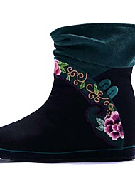 Women's Boots Spring Winter Comfort Canvas Outdoor Dress Casual Low Heel Satin Flower Flower Blue Green Red Walking