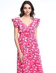 Women's Ruffle Flowing Peach Printing Chiffon Long Dress
