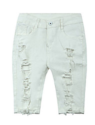 Women's Slim Jeans Pants,Casual/Daily Simple Solid Ripped Mid Rise Button Rayon Micro-elastic Fall