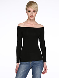 Women's Sexy Off the Shoulder Tops Long Sleeve Cotton Tee Shirts Casual T Shirts Solid Color