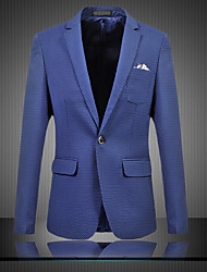 Men's Plus Size / Going out / Party/Cocktail Vintage / Simple / Street chic All Seasons Blazer,Polka Dot V Neck Long Sleeve Blue Cotton