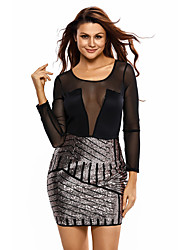 Women's Sequin Long Sleeves Mesh Shadow Sequin Bottom Dress
