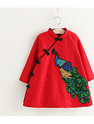Girl's Casual/Daily Formal Solid Embroidered Dress,Cotton Rayon Winter Spring Fall Long Sleeve