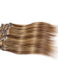 7 pièces / set clip dans la couleur des cheveux extensions de piano mélangés brun blond 14inch 18inch cheveux 100% pour les femmes