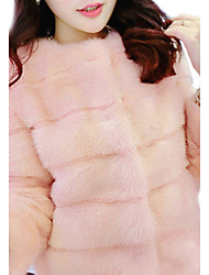 Women's Going out Fur Coat,Solid Crew Neck Winter Pink / White / Black Faux Fur Thick
