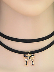 Women's Choker Necklaces Collar Necklace Tattoo Choker Alloy Bowknot Tattoo Style Bow Fashion Black Jewelry Casual 1pc