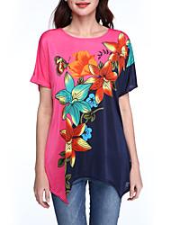 Damen Blumen Boho / Street Schick Lässig/Alltäglich T-shirt,Rundhalsausschnitt Sommer Kurzarm Rosa Kunstseide Dünn