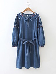 Women's Going out / Casual/Daily Simple / Street chic Denim Dress,Embroidered Round Neck Knee-length Long Sleeve Blue Acrylic / Polyester