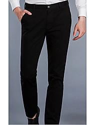 Hombre Sencillo Tiro Medio Microelástico Chinos Empresa Pantalones,Corte Recto Un Color