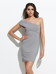 Women's Casual/Daily Sexy Shift DressSolid Strapless Above Knee / Asymmetrical Sleeveless Gray Cotton Fall /