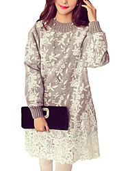 Ample Robe Femme Décontracté / Quotidien / Grandes Tailles simple,Imprimé Col Ras du Cou Au dessus du genou Manches Longues Marron / Gris